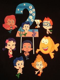 Set of 8 Flat Bubble Guppies and Birthday Number Topper with Choice of Bubble Guppie Birthday Numbers, 2nd Birthday, Birthday Ideas, Fondant Figures, Cake Lettering, Bubble Guppies Birthday, Gum Paste, Cupcake Toppers, Birthdays