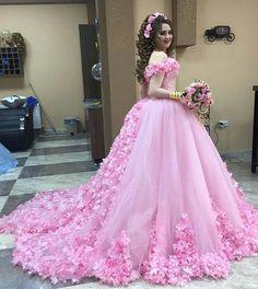 Cheap prom dresses 2017,Pink Wedding Dresses,Flower Wedding Dresses,Tulle