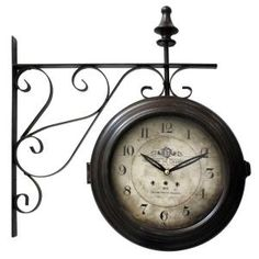double sided iron wall clock with black iron frame you can imagine this antique designed doublesided clock