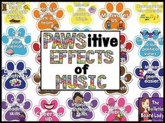 Celebrate the PAWSitive effects of Music with this positively adorable music bulletin board!  Created with a colorful, paw print theme, this bulletin board coordinates with the other great paw print themed materials in my store.  This music advocacy bulletin board is sure to stop traffic in the hall as students and teachers pause to read about the benefits of music.In this download youll get 22 paw prints with ways that music has a positive effect on our lives.