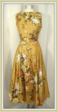 Vintage 50s . Gold Floral Party Dress.