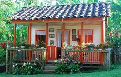 cute tiny house with porch! Village House Design, Village Houses, Play Houses, Bird Houses, Tiny House Cabin, House With Porch, Cozy Cottage, Cottage Homes, Dream Home Design