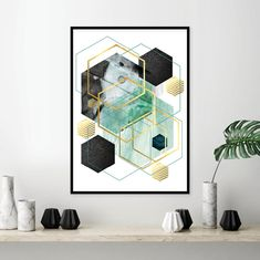 Downloadable prints Teal wall art Printable wall art Gold | Etsy Teal Wall Art, Gold Wall Decor, Green Wall Art, Abstract Canvas Art, Canvas Wall Art, Wall Art Prints, Framed Prints, Art Deco Artwork, Fall Art Projects