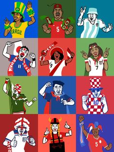 """""""Which World Cup team should you root for?"""" by Lawerta Illustrations for FiveThirtyEight quiz for USA Supporters to choose who to support during World Cup Russia 2018."""