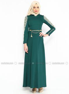 Dantelli Uzun Abiye Elbise - Yesil - Modaysa