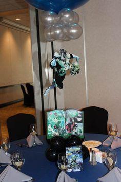 Comic Themed Balloon Centerpiece Comic Book Themed Balloon Centerpiece with Floating Superheroes and Custom Table Signs Ballon Decorations, Balloon Centerpieces, Superhero Centerpiece, Table Signs, Book Themes, Bar Mitzvah, Party Themes, Party Ideas, Event Decor
