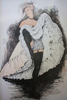 Vintage French Cancan Dancer Print