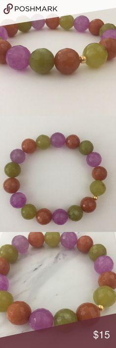 "Gemstone Bracelet Beautiful handmade stretch bracelet. Fits wrist size 6.5 - 8"".  • Bundle to save! • No trades please • Price firm unless bundled 💕  Tags: Anthropologie boho stacking bracelets Handmade Jewelry Bracelets"