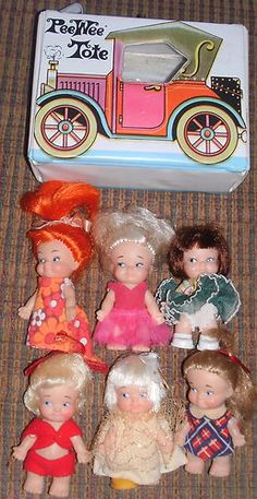 6 Vint Orig UNEEDA PEE WEE Dolls + TOTE CASE *VGC* Kiddle Era FUN Dolls
