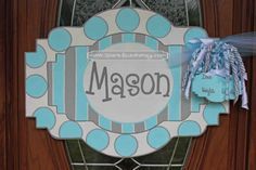 Blue & Gray Personalized Baby Sign For Hospital Door