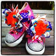 Customized Bling Converse by SassySolesShoetique on Etsy, $50.00 Bling Converse, Baby Converse, Awesome Shoes, Love Hair, Candyland, 2nd Birthday, Hair Bows, Sassy, Cheer