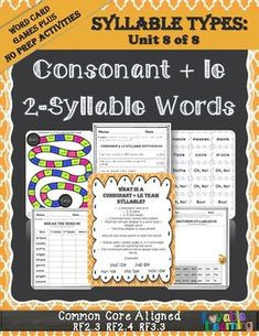 Learn about consonant le 2-syllable words in a fun and engaging way.  This packet includes an exclusive list of 156 two syllable words containing the r-controlled, vowel teams(digraphs & diphthongs), cvce, open, and closed syllable patterns.  Now, you won\'t have to use resources with words containing syllable types your students have not learned anymore!