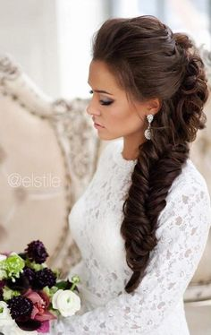 Stunning fishtail wedding hairstyle