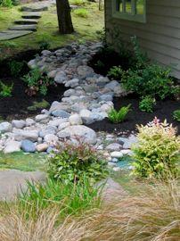 for back yard drainage area Landscape Solutions, Yard Drainage, Drainage Solutions, Stepping Stones, Landscape Design, Lawn, Backyard, Places, Outdoor Decor