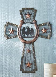 Decorative Wall Cross turquoise horseshoe concho decorative wall cross faux wood barbed