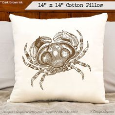 Items similar to Personalized Boat Pillow - Crab Pillow - Crab Print on a soft pillow - Crab Cushion on Etsy Personalized Pillows, Custom Pillows, Personalized Gifts, Cotton Pillow, Beach House, Great Gifts, Throw Pillows, Unique Jewelry, Handmade Gifts