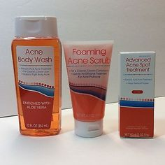 Acne Fighting Variety Pack ~ Acne Body Wash, Foaming Acne Scrub, Spot Treatment