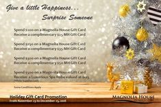 Gift Card Promotions, Magnolia House, Electronic Gift Cards, House Gifts, Christmas And New Year, Gta, Free Gifts, Hamilton, Toronto