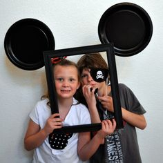 Mickey Mouse Photo Booth - Add a bow and make it Minnie Mouse for a birthday party! Mickey Mouse Photo Booth, Mickey Mouse Photos, Mickey Mouse Bday, Mickey Mouse Clubhouse Birthday, Mickey Mouse Parties, Mickey Party, Mickey Mouse Birthday, Elmo Party, Elmo Birthday