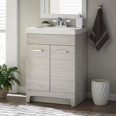 Glacier Bay Stancliff 24 in. W x 19 in. D Bathroom Vanity in Elm Sky with Cultured Marble Vanity Top in White with White Sink - - The Home Depot Marble Vanity Tops, Bathroom Vanity Tops, Wood Vanity, Bathroom Spa, Bath Vanities, Bathroom Styling, Modern Bathroom, Small Bathroom, Master Bathroom