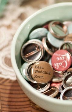 Whip up some personalized buttons for all your friends, which will also serve as great icebreakers: | 24 DIY Decorations That Will Make Any Wedding Look Like A Million Bucks