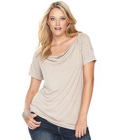 INC International Concepts Plus Size Top, Cap-Sleeve Cowl-Neck Studded - Plus Size Tops - Plus Sizes - Macy's