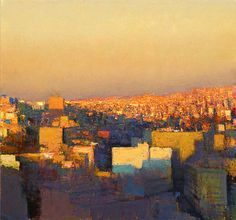 """ Andrew Gifford, View from the Wild Jordan Cafe Looking North East, Sunset Study, 2011, Oil on panel """