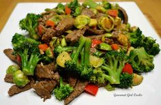 """Gourmet Girl Cooks: Stir-fried Beef, Broccoli & Brussels -- """"Chinese Take-in"""" (Low Carb & Wheat-free)"""