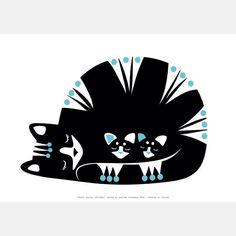 Printmaking - cats - digital print