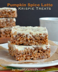 Pumpkin Spice Latte Krispie Treats - rice krispie treats go to a whole new level with pumpkin marshmallows, coffee, and white chocolate.