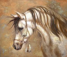Horse  Painting Textured Palette Knife Oil on Canvas by spirosart