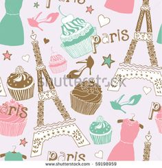 """BB """"With Love From Paris"""" : Fashionable colors fill this seamless mural. Cakes, shoes, dresses, and the iconic Eiffel tower are all featured. This pattern will have you thinking of Paris on a daily basis."""