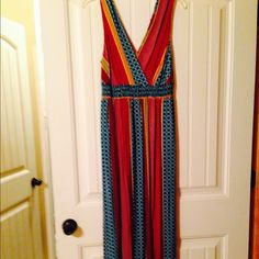 Colorful Boho Maxi Dress Colorful Boho Maxi Dress 100% Rayon  empire Waist Elastic.     New Never Worn Unknown Dresses Maxi