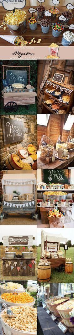 Rustic Popcorn wedding dessert food bar ideas for wedding reception / http://www.deerpearlflowers.com/wedding-catering-trends-dessert-bar-ideas/2/