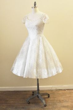 1950's Ivory and ice blue lace wedding gown