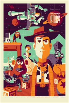 Pixar Toy Story Mondo silkscreen poster by artist Tom Whalen Disney Pixar, Art Disney, Disney Kunst, Disney Cartoons, Disney Movies, Disney Ideas, Disney Animation, Cartoon Cartoon, Cartoon Posters
