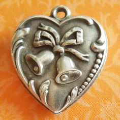 Vintage 1940's Repoussé Wedding Bells Puffy Heart Sterling Silver Charm ~ Engraved Jo from A Genuine Find