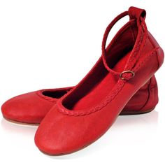 Elf Red Leather Shoes Red Flats Womens Shoes Leather Ballet Flats Red... ($110) ❤ liked on Polyvore featuring shoes, flats, red flat shoes, strap ballet flats, ballet flats, red flats and t-strap flats