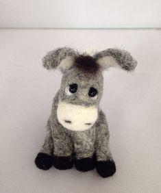 Needle Felted Animal, Needle Felted Donkey, felted animal,grey miniature donkey, OOAK Handmade, soft sculpture miniature, gift for her