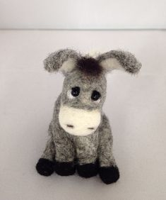 Needle Felted Animal, Needle Felted Donkey, felted animal,grey miniature donkey…