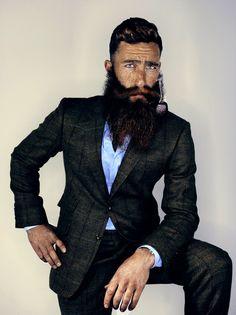 Jimmy Niggles looking especially dapper - full thick bushy beard and mustache beards bearded man men bearding mens' style suit tie classic pipe smoker smoking handsome #sharpdressedman #beardsforever