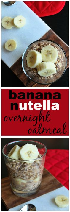 Banana Nutella Overnight Oatmeal: A gluten free and vegan breakfast fit for your busy on-the-go-mornings! || fooduzzi.com