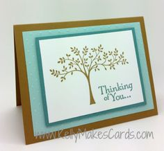 Stampin' Up! Thoughts and Prayers stamp set with using in colors Lost Lagoon and Brown Sugar.