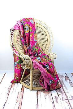 Pink Indian Kantha Quilts, Cotton king Kantha Quilt Tropicana Fruit Bedspread Bedthrow reversible use