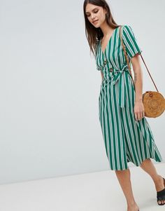 712865f73621 DESIGN cotton green stripe midi dress with buttons