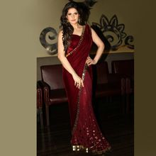 Burgundy Evening Dresses 2016 Couture Indian Saree Party Dress Soft Velour Long Robe De Soiree Dubai Arabic Women Cheap Dress(China (Mainland))