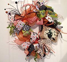 Halloween Wreath, Halloween Deco Mesh Wreath, Trick or Treat Wreath, Pumpkin Wreath, Black and Orange Wreath, Witch Wreath by LadySlipperWreaths on Etsy