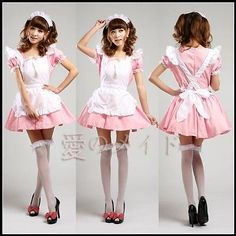 Pink Japanese Maid Uniform Costume Lolita Dress for Halloween/Cosplay Party 339