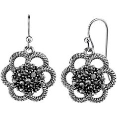 1928 Flower Drop Earrings (1,480 INR) ❤ liked on Polyvore featuring jewelry, earrings, grey, fish hook jewelry, drop earrings, floral drop earrings, floral jewelry and blossom jewelry