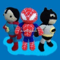 Crochet pattern - Set of 3 Hero. $12.00, via Etsy. (Batman, Spiderman and Superman #amigurumi)